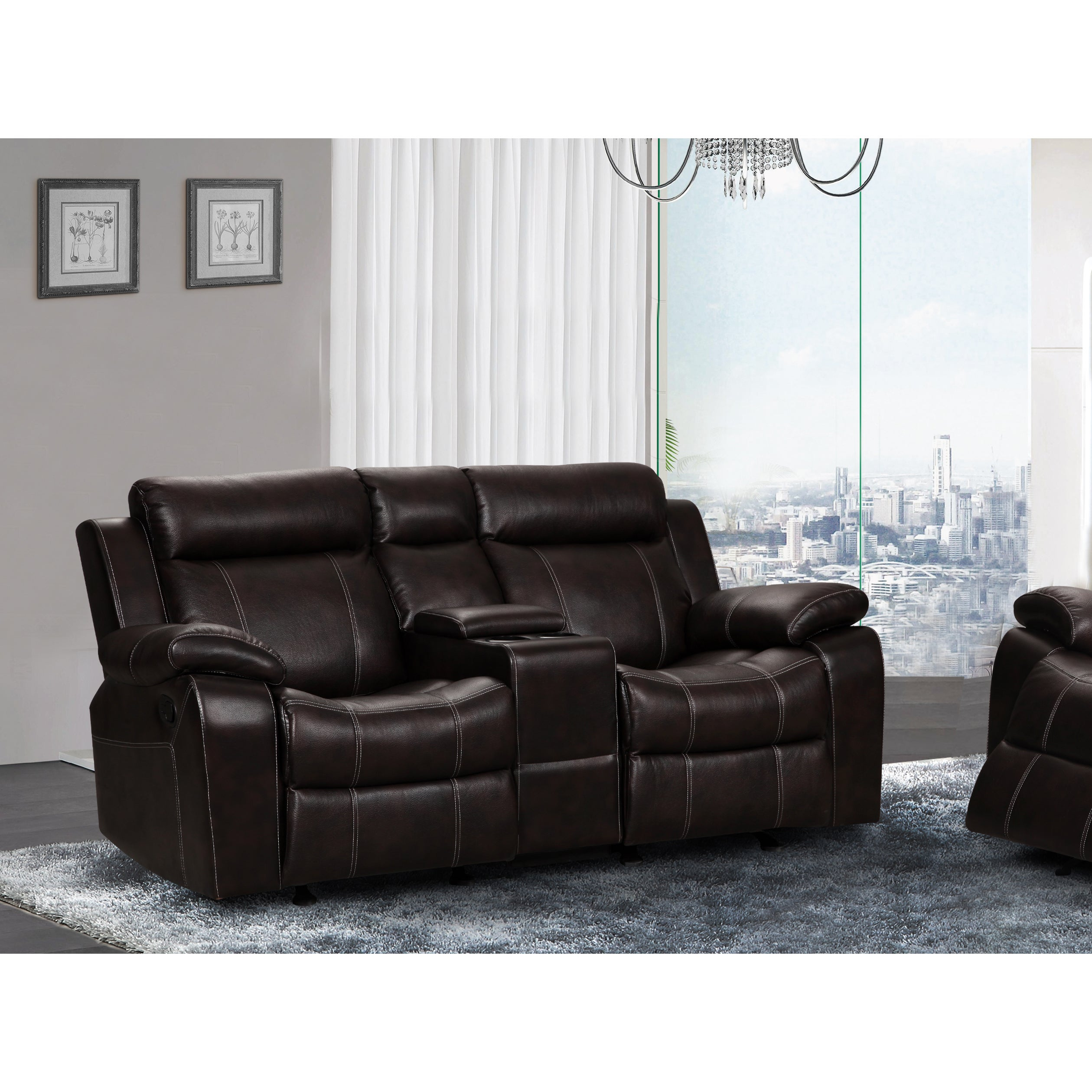 doble in microfiber laurelton console center loveseat homelegance com charcoal ip walmart glider with reclining w