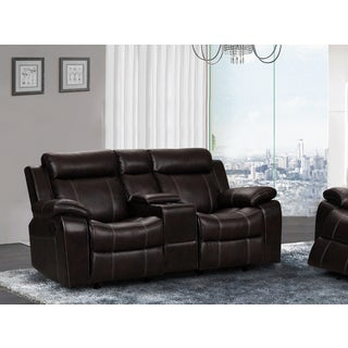 Sherry Dark Brown Leather Air Reclining and Gliding Loveseat with Center Console