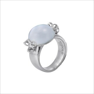 Di Modolo Rhodium-plated Sterling Silver Mother-of-pearl Doublet Ring
