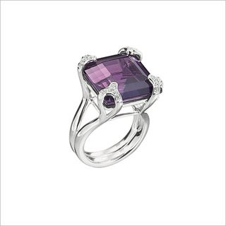 Di Modolo Rhodium-plated Sterling Silver 1/5ct TDW Diamond and Purple Quartz Ring (H-I, I1-I2)
