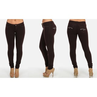 Women's Brown Cotton and Spandex Embellished Pockets Skinny Pants