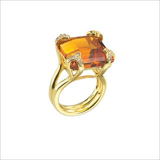 Di Modolo 18k Yellow Goldplated Sterling Silver 1/5ct TDW Diamond and Golden Quartz Ring (H-I, I1-I2)