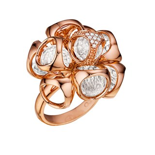 Di Modolo Rose Goldplated Sterling Silver 1/10Ct TDW Diamond and Rock Crystal Ring (H-I, I1-I2)