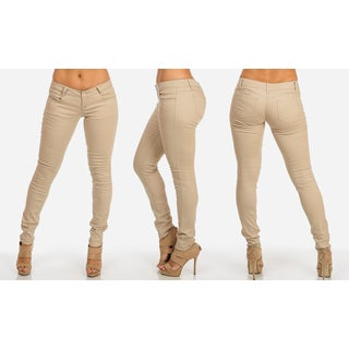 Juniors' Classic Khaki Cotton-blended Low-rise Twill Skinny Pants