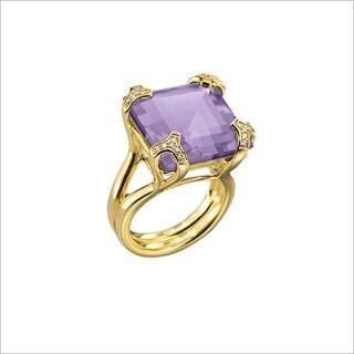 Di Modolo Yellow Goldplated Sterling Silver 1/5ct TDW Diamond and Purple Quartz Ring (H-I, I1-I2)