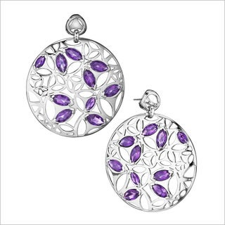 Di Modolo Rhodium-plated Sterling Silver Purple Quartz Drop Earrings