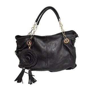 Donna Bella Rosie Black Faux Leather Satchel