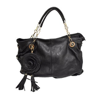 Donna Bella Rosie Black Faux Leather Satchel