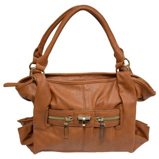 Donna Bella Designs Techia Brown Faux Leather Shoulder Handbag