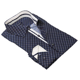 Rosso Milano Men's Blue/White Cotton/Polyester Contrasted Printed Shirt