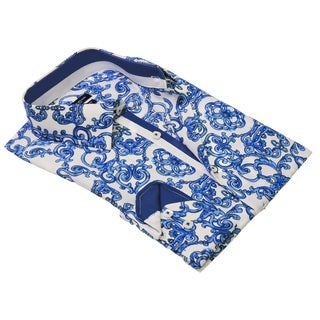 Rosso Milano European Modern Fit Cotton, Polyester Printed Shirt