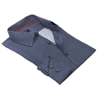 Rosso Milano Men's Blue Cotton and Polyester Printed Shirt