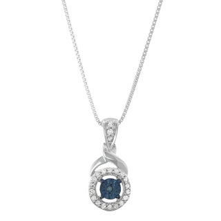 0.12CTTW Blue and White Diamond Pendant in Sterling Silver
