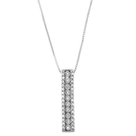 """1/5 CTTW Miracle Plate Diamond Stick Pendant in Sterling Silver ( White, Black, Blue) - 9'6"""" x 13'6"""" - 9'6"""" x 13'6"""""""