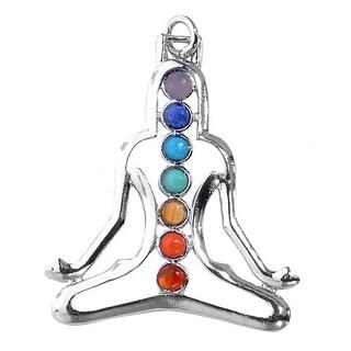 Sterling Silver 7 Gemstone Chakra Healing Point Rieki Bead Yoga Portrait Pendant
