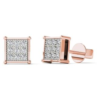 AALILLY 10k Rose Gold Diamond Accent Square Stud Earrings