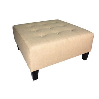 MJL Furniture MAX Squared Beige Fabric Button-tufted Ottoman