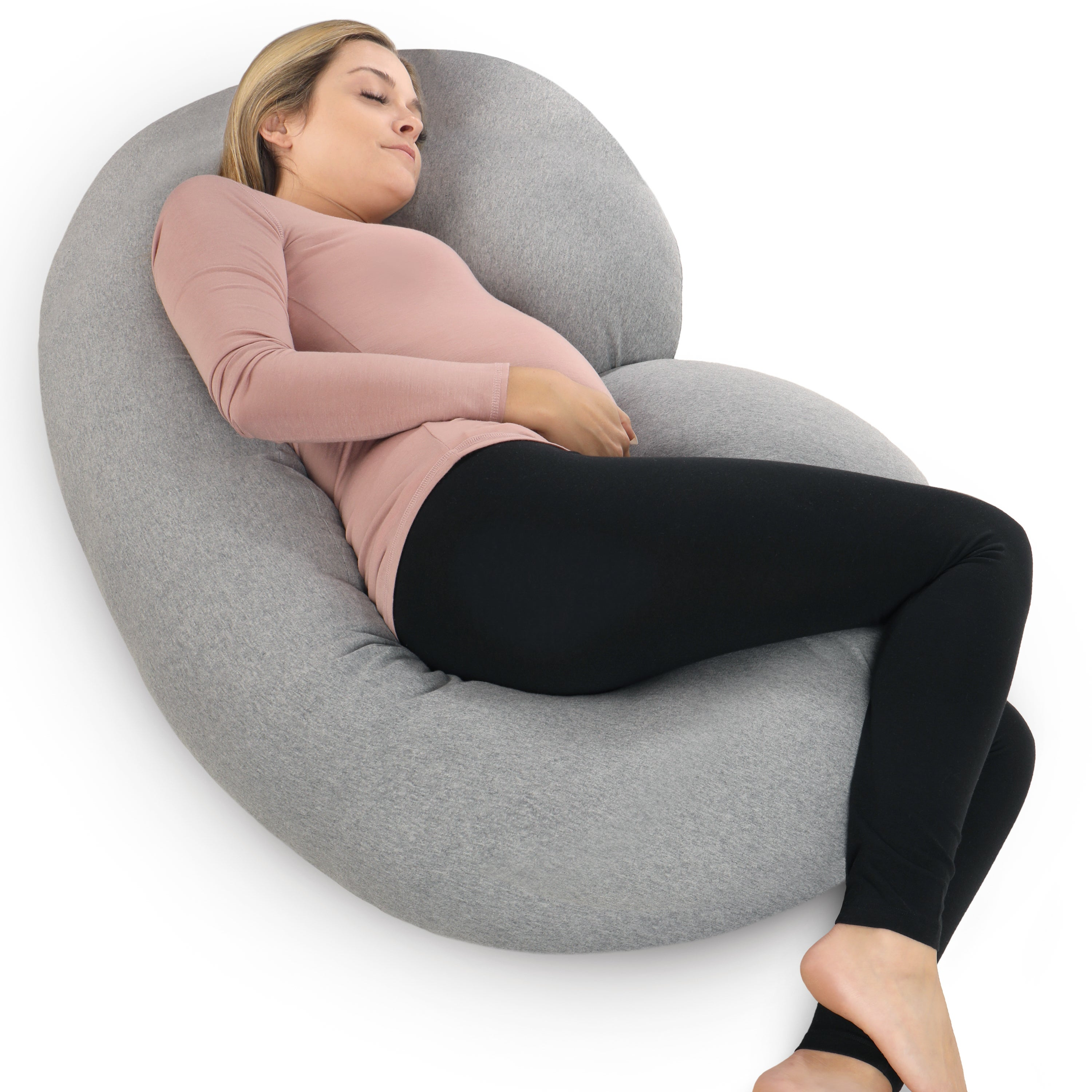 PharMeDoc Pregnancy C-shaped Body Pillow with Soft Jersey...