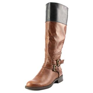 Nine West Women's Leora Wide Calf Brown Faux Leather Boots