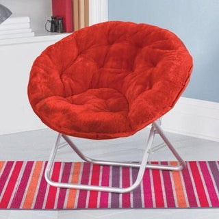Faux-Fur Saucer Chair (Option: Red)