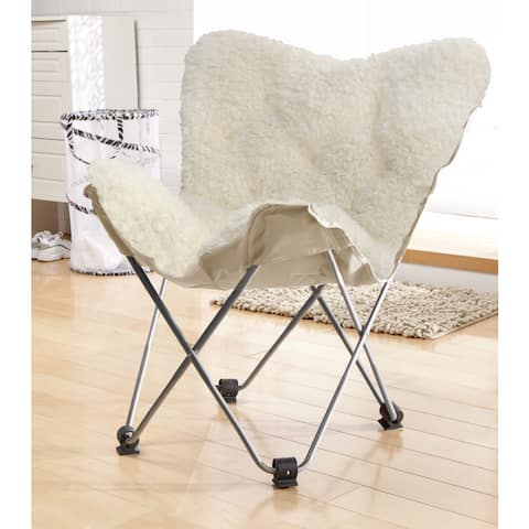 Urban Shop Mongolian Butterfly White Lounge Chair