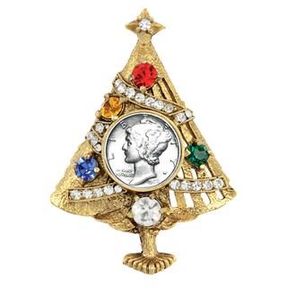 American Coin Treasures Silver Mercury Dime Christmas Tree Brooch