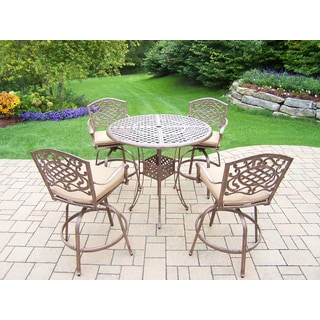 Grand Dakota 5 Piece Bar Set with Round Table and 4 Cushioned Bar Stools