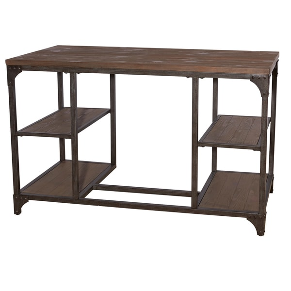 Shop Industrial Benjamin Weathered Wood And Iron Desk   Free Shipping Today    Overstock   13554914