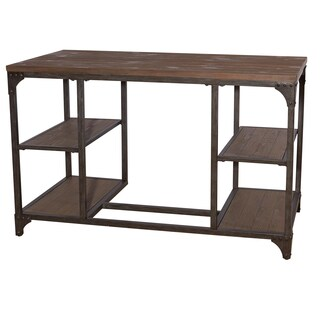 Industrial Benjamin Weathered Wood and Iron Desk