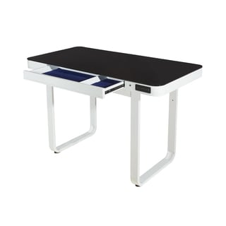 Lynk Metal and Black Glass Desk