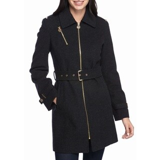 Michael Kors Charoal Grey Wool Blend Belted Coat