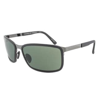 Porsche Design P8552 A Rectangular Sunglasses in Black Frames/ Green Lens (As Is Item)