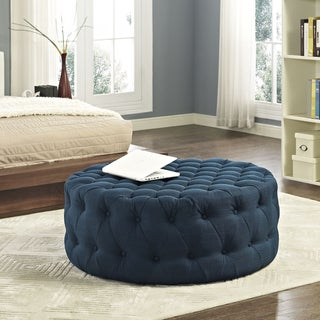 Link to Copper Grove Harrison Blue Amour Fabric Ottoman Similar Items in Living Room Furniture