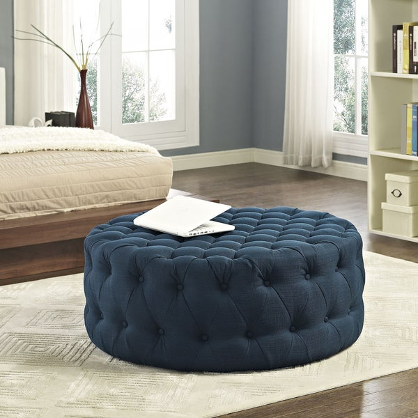 Shop Copper Grove Thorsen Blue Amour Fabric Ottoman On Sale Free