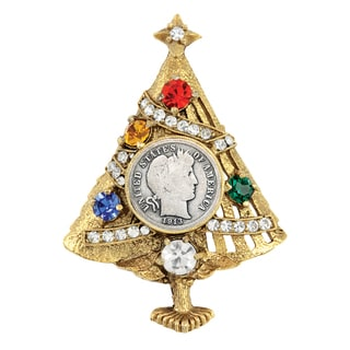 Silver Barber Dime Christmas Tree Brooch