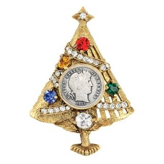 Silver Barber Dime Christmas Tree Brooch