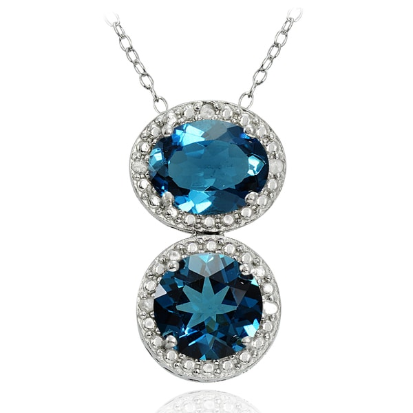 Glitzy Rocks Sterling Silver 4ct TGW London Blue and Diamond Two Stone Friendship Necklace