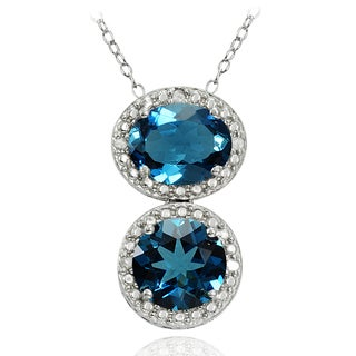 Glitzy Rocks Sterling Silver 4ct TGW London Blue and Diamond Two Stone Friendship Necklace