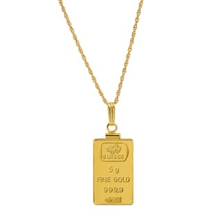 5 Gram Gold Ingot Pendant Necklace