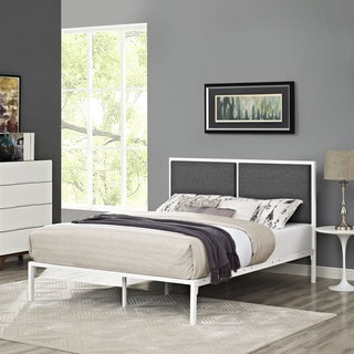 Della Fabric Bed in White Gray