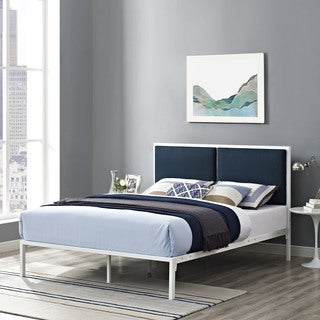 Della Fabric Bed in White Azure