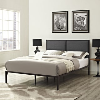 Della Fabric Bed in Brown Gray