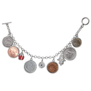 American Coin Treasures Lucky Coin Charm Multicolored Metal Toggle Bracelet - Silver