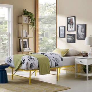 Horizon Stainless Steel Twin Bed Frame in Yellow