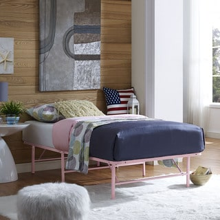 Horizon Stainless Steel Twin Bed Frame in Pink