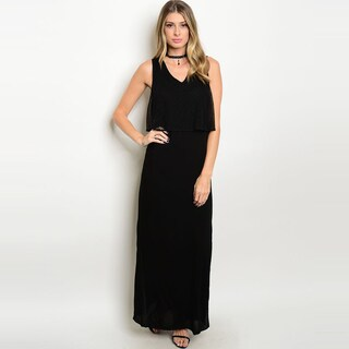 Shop the Trends Women's Viscose Sleeveless Maxi Dress with Lace Detail Cutout Back