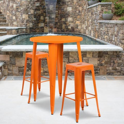 """30"""" Round Metal Indoor-Outdoor Bar Table Set with 2 Backless Stools - 30""""W x 30""""D x 41""""H"""