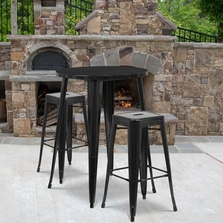 30-inch Round Metal Indoor-Outdoor Bar Table Set with 2 Square Seat Backless Barstools