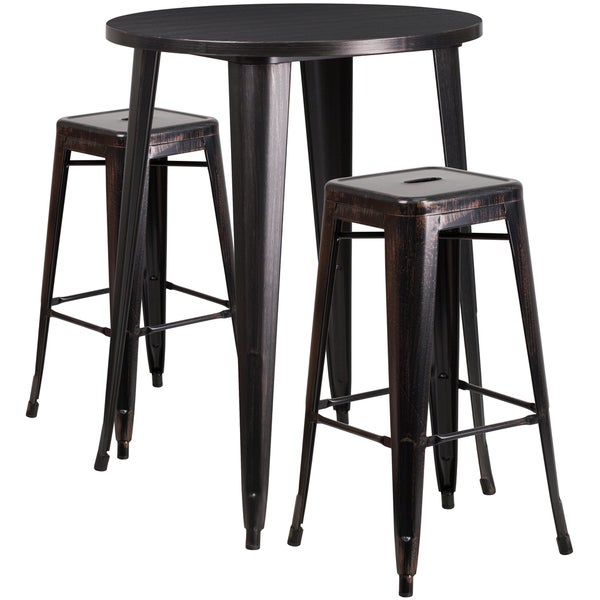 Shop 30 Inch Round Black Antique Gold Metal Indoor Outdoor Bar Table