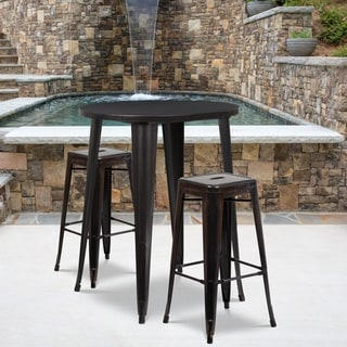 30-inch Round Black-Antique Gold Metal Indoor-Outdoor Bar Table Set with 2 Square Seat Backless Barstools